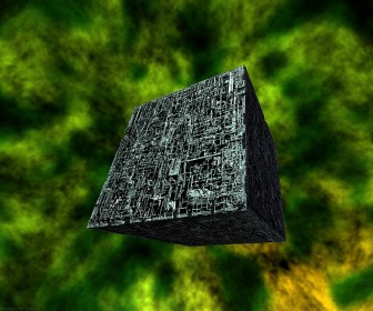 Borg Cube Green Background Wallpaper
