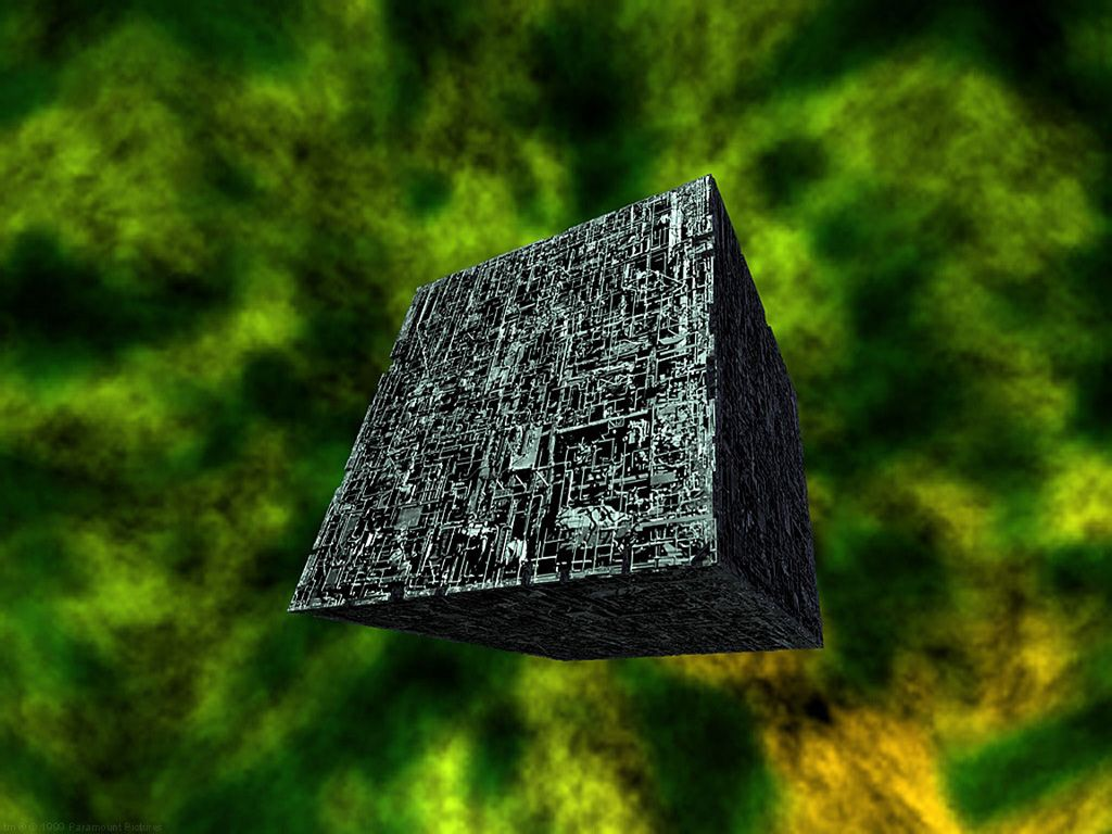 Borg Cube Green Background Wallpaper 1024x768
