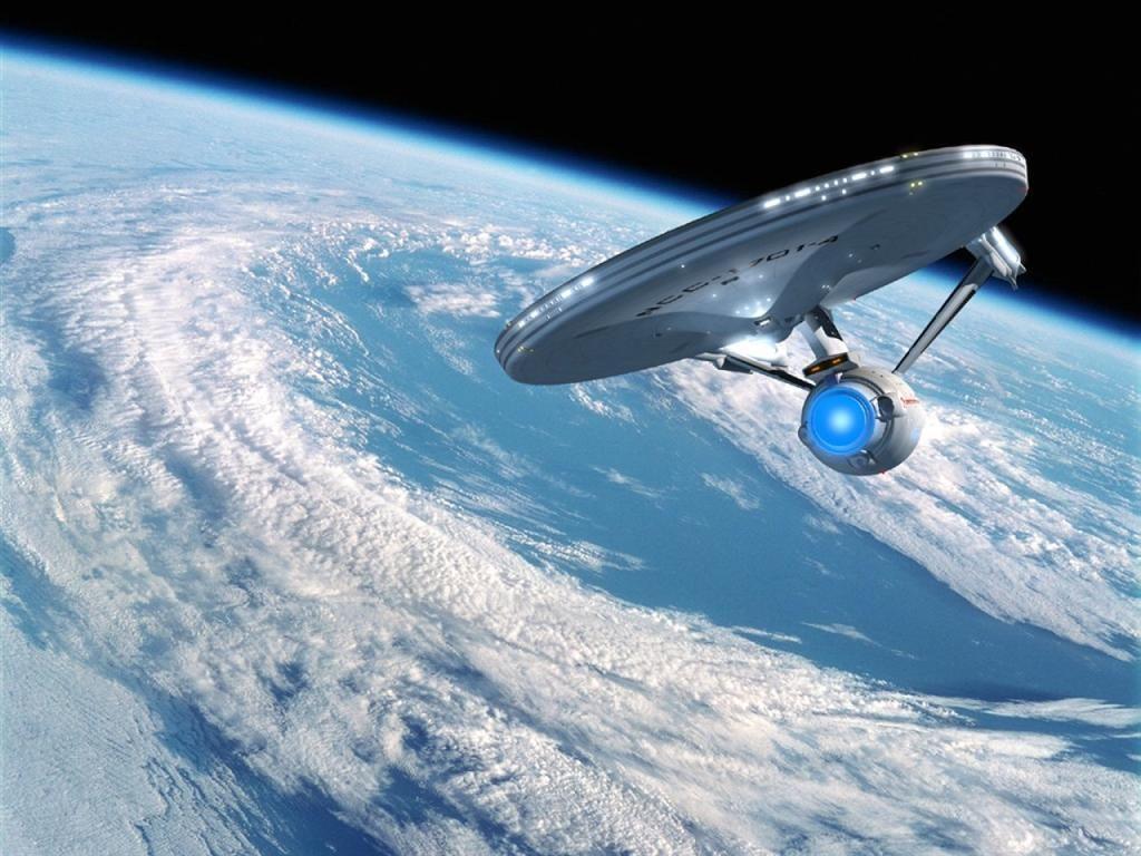 Enterprise Above Earth Wallpaper 1024x768