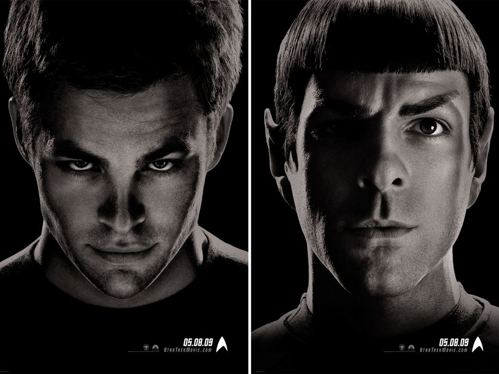Kirk Spock Faces Double Poster Wallpaper 1024x768
