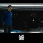 Spock Standing In Starship Bridge Poster Wallpaper