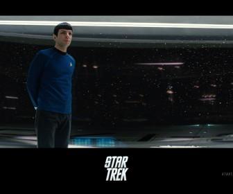 Spock Standing In Starship Bridge Poster Wallpaper