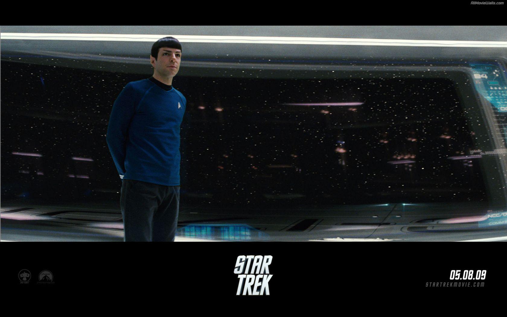 Spock Standing In Starship Bridge Poster Wallpaper 1680x1050