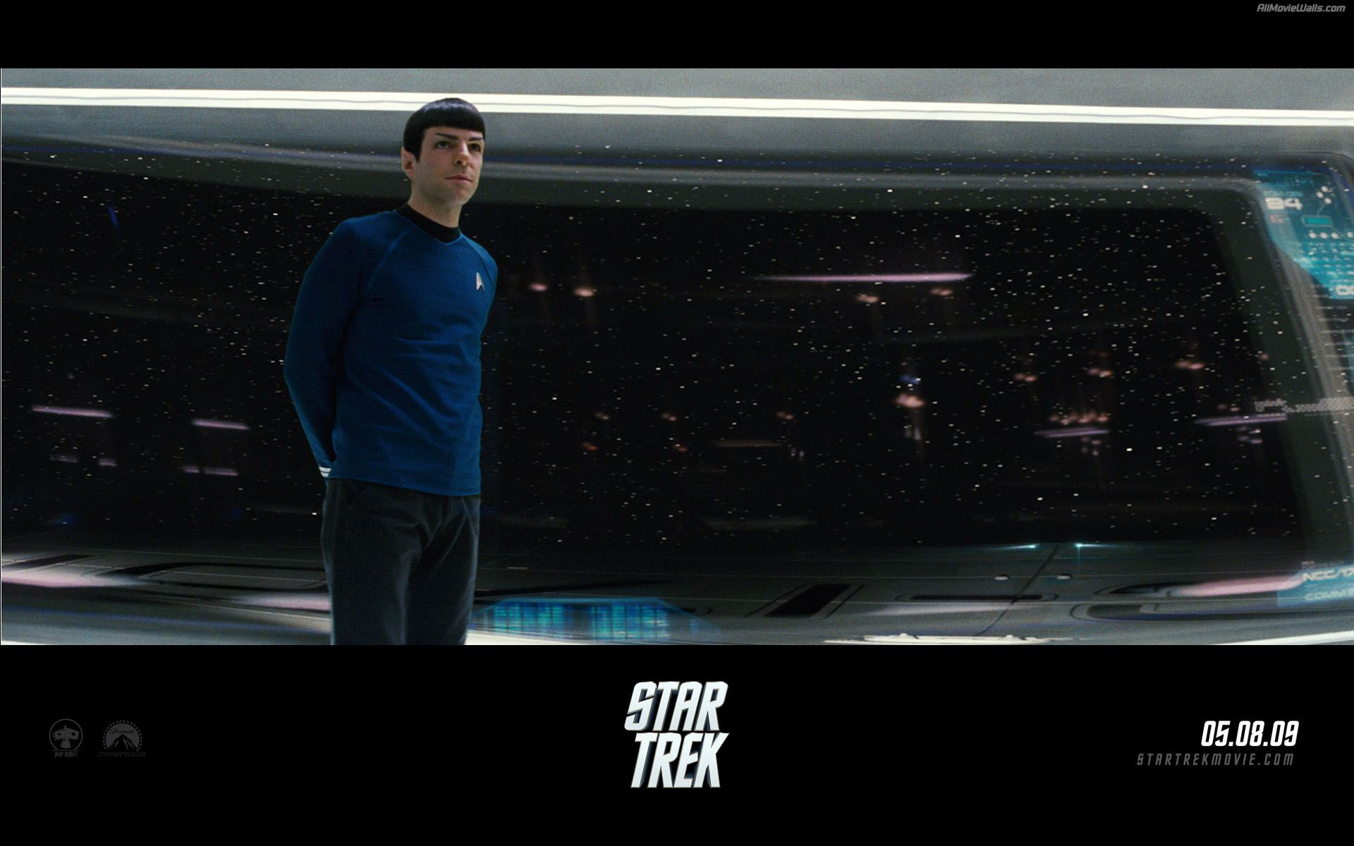 Spock Standing In Starship Bridge Poster Wallpaper 1920x1200