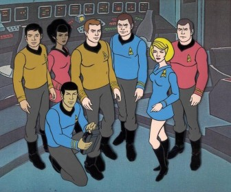 The Animated Series Cast On Starship Bridge Wallpaper