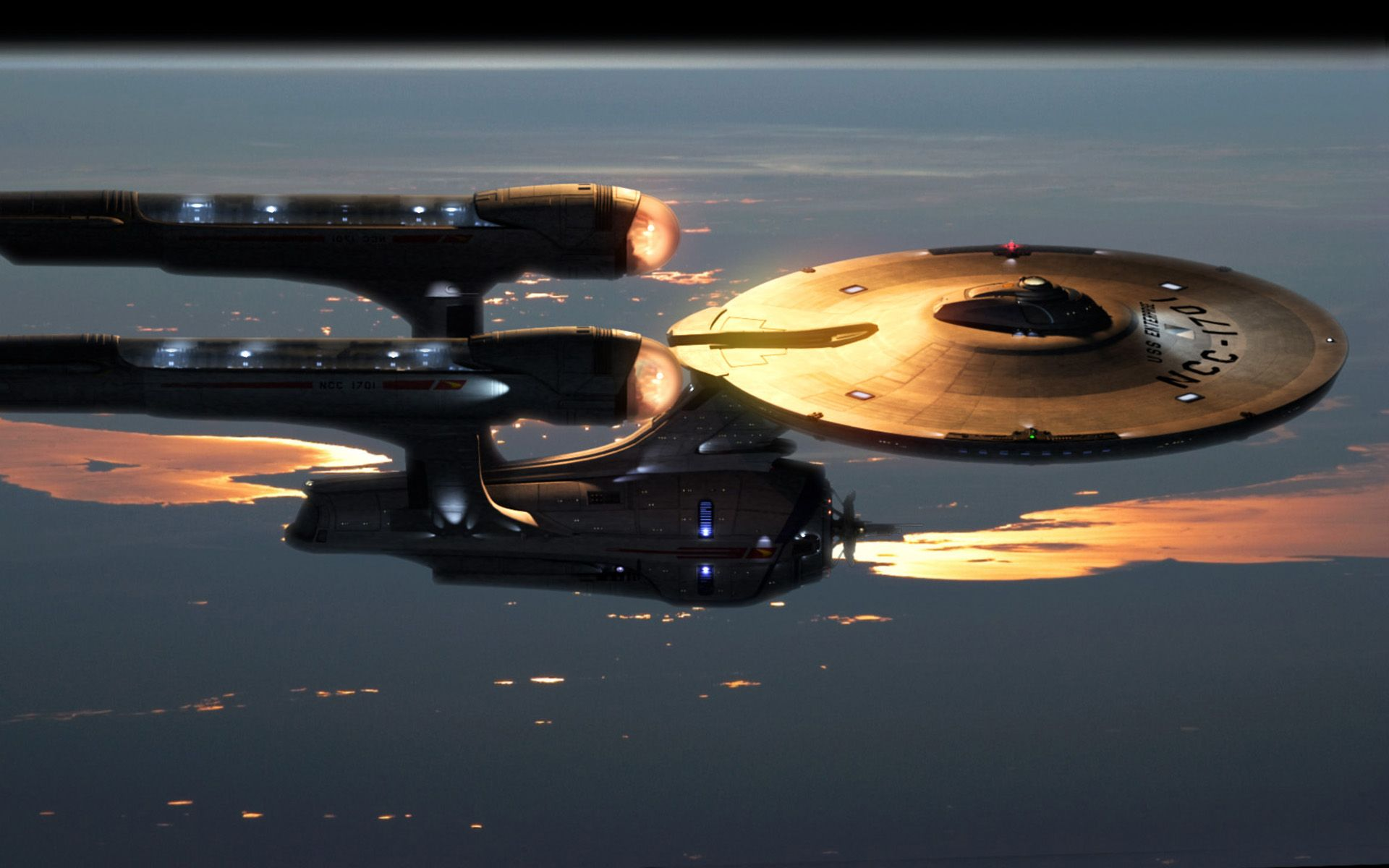 Uss Enterprise Top View Wallpaper 1920x1200