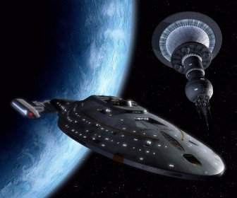 Uss Voyager With Satellite Wallpaper