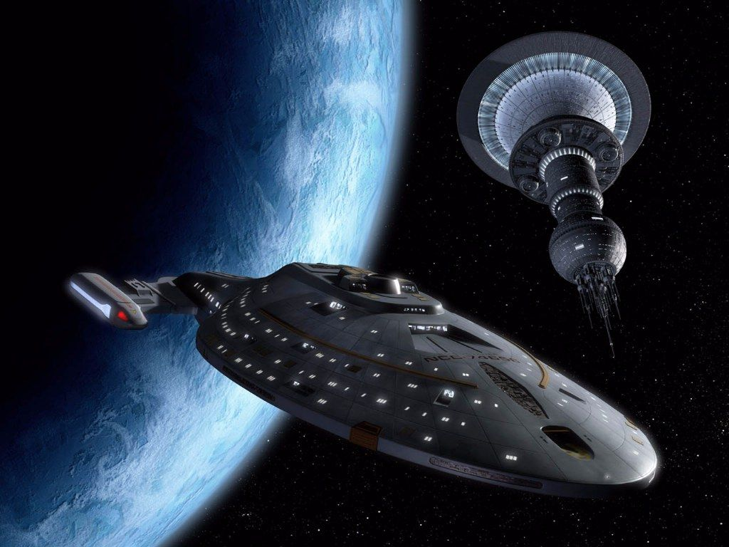 Uss Voyager With Satellite Wallpaper 1024x768